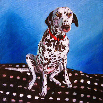Paws Painting - Dalmatian On Spotty Cushion by Helen White