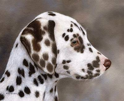 Dog Portrait Painting - Dalmatian Puppy Painting by Rachel Stribbling