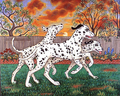 Dalmatian Painting - Dalmatians Three by Linda Mears