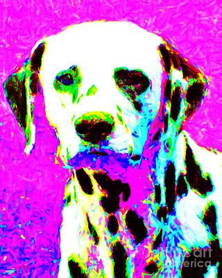 Pup Digital Art - Dalmation Dog 20130125v1 by Wingsdomain Art and Photography