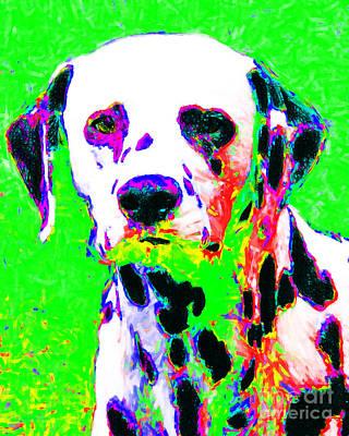 Pup Digital Art - Dalmation Dog 20130125v3 by Wingsdomain Art and Photography