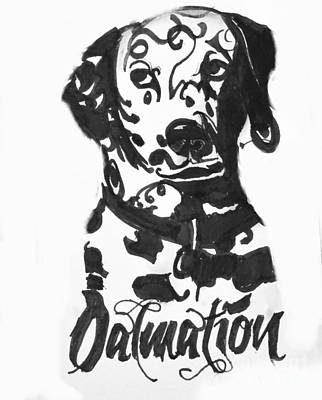 Dalmation Drawing - Dalmation by Dogonit Art