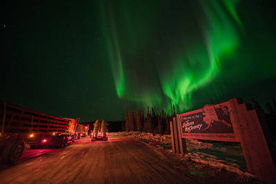 Photograph - Ice Road Truckers Aurora by Roger Clifford