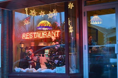 Store Fronts Painting - Dalton Restaurant At Christmas Time by John Houseman
