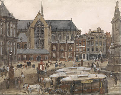 Dam Drawing - Dam Square In Amsterdam The Netherlands, George Hendrik by Quint Lox
