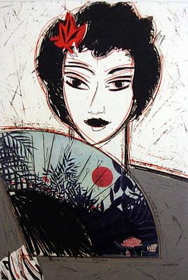 Manolo Valdes Painting - Dama Con Abanico II by Manolo Valdes