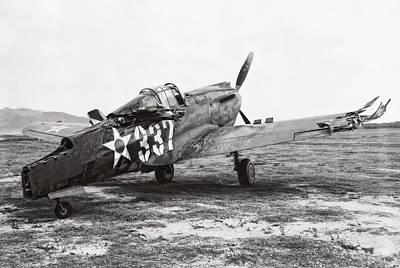 Damaged Curtiss P-40 - Pearl Harbor Hawaii - 1941 Art Print