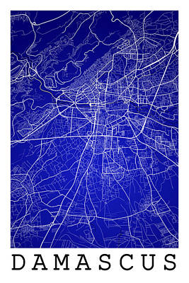 Damascus Street Map Damascus Syria Road Map Art On Color Digital - Us colored road map