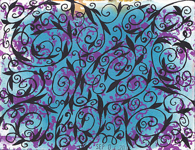Damask Drawing - Damask Swirls by Patricia Wiggin - Wiggelhevin