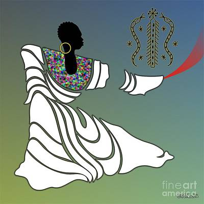 Gold Earrings Digital Art - Damballah Loa by Walter Oliver Neal