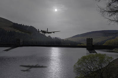Photograph - Dambusters Lancaster At The Derwent Dam At Night by Gary Eason