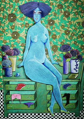 Lilac Drawing - Dame Auf Der Kommode by Alesya Von Meer