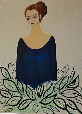 Evening Dress Mixed Media - Dame Bleue by Lucie  Menard