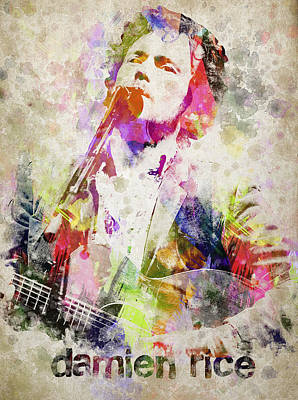 Singer Mixed Media - Damien Rice Portrait by Aged Pixel