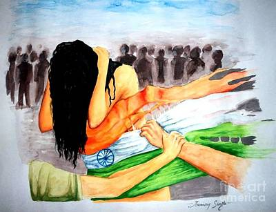 Painting - Delhi Gang Rape A Tragedy by Tanmay Singh
