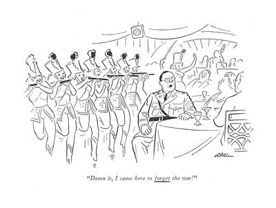 Showgirl Drawing - Damn It, I Came Here To Forget The War! by  Alain