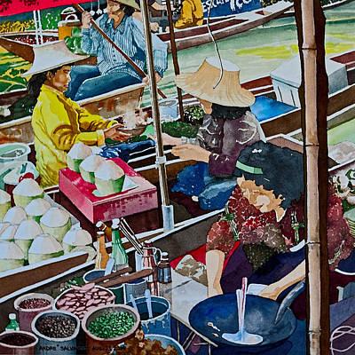 Painting - Damnoen Saduak Floating Market by Andre Salvador