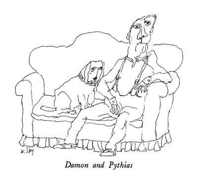Damon And Pythias Art Print by William Steig