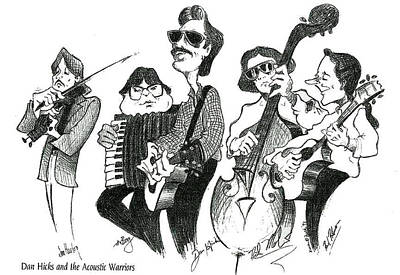 Bass Player Drawing - Dan Hicks And The Acoustic Warriors by Karen Fulk