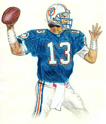 Miami Dolphins Drawing - Dan Marino by Craig Nelson