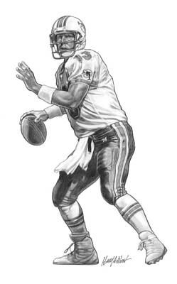 Dolphin Drawing - Dan Marino Qb by Harry West
