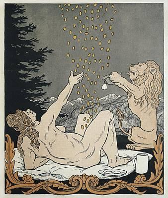 Danae. Thomas Theodor Heine Caricature Art Print