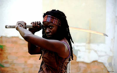 Digital Art - Danai Gurira As Michonne @ The Walking Dead by Gabriel T Toro