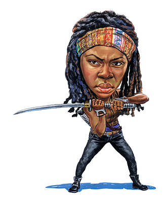 Comics Royalty-Free and Rights-Managed Images - Danai Gurira as Michonne by Art