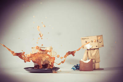 Pyrography - Danbo And Coffee by Thomas Schaller