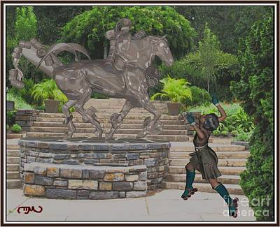 Statue Portrait Digital Art - Dance Around The Statue Dats1 by Pemaro
