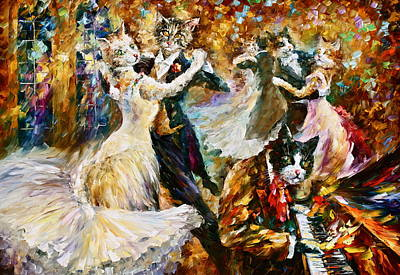 Piano Painting - Dance Ball Of Cats  by Leonid Afremov
