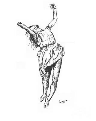 Ink Drawing Drawing - Dancing by Celia Fedak