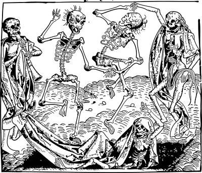 Aged Wood Drawing - Dance Macabre Medieval Wood Engraving by