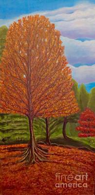 Painting - Dance Of Autumn Gold With Blue Skies I by Kimberlee Baxter