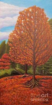 Dance Of Autumn Gold With Blue Skies II Print by Kimberlee Baxter