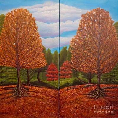 Dance Of Autumn Gold With Blue Skies  Print by Kimberlee Baxter