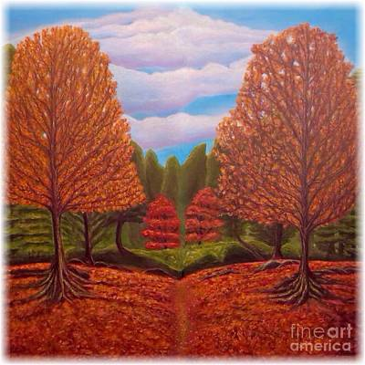 Painting - Dance Of Autumn Gold With Blue Skies Revised by Kimberlee Baxter