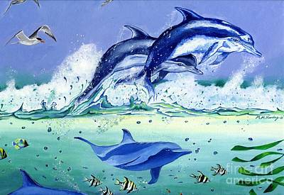 Bottle-nose Painting - Dance Of The Dolphins by Mary-Anne Harding