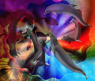 Friendly Digital Art - Dance Of The Dolphins by Sydne Archambault