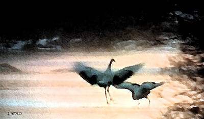 Painting - Dance Of The Japanese Cranes by George Pedro