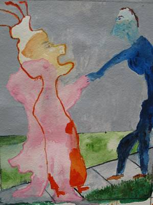 Blue And Pink Dance Painting - Dance Of The Marionette by Lawrence  Dugan