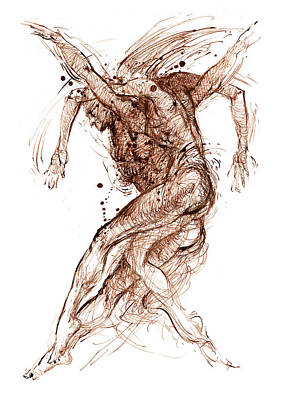 Sepia Ink Drawing - Dance by Youri Ivanov