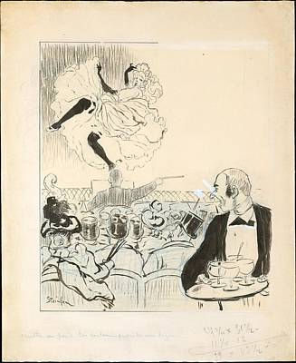 Steinlen Drawing - Dancer At A Caf� Concert by Th�ophile-Alexandre Steinlen