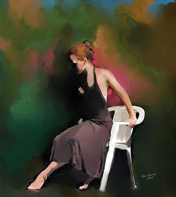 Art Print featuring the painting Dancer At Rest by Ted Azriel