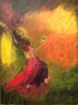 Art Print featuring the painting Dancer by Brindha Naveen