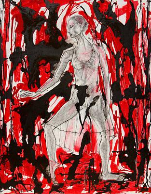 Dancer In Red And Black Art Print by Brenda Clews
