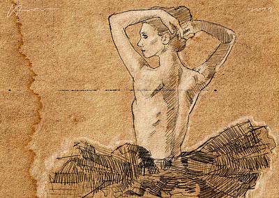 Topless Digital Art - Dancer In Tutu by H James Hoff