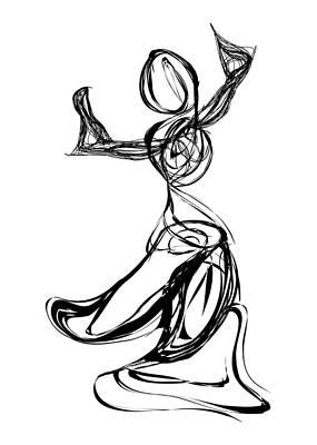 Pen And Ink Drawing Digital Art - Dancer by Michael Lee