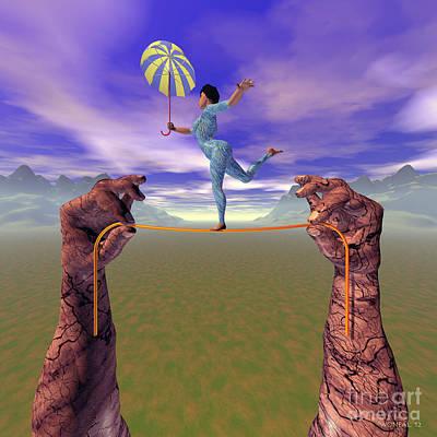 Gymnasts Digital Art - Dancer On A String 1 by Walter Oliver Neal
