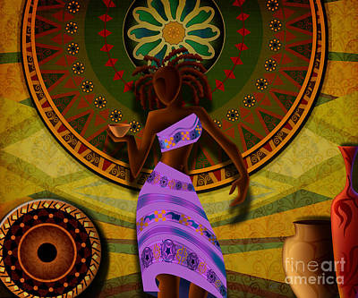 Dancer With Cup Art Print by Bedros Awak